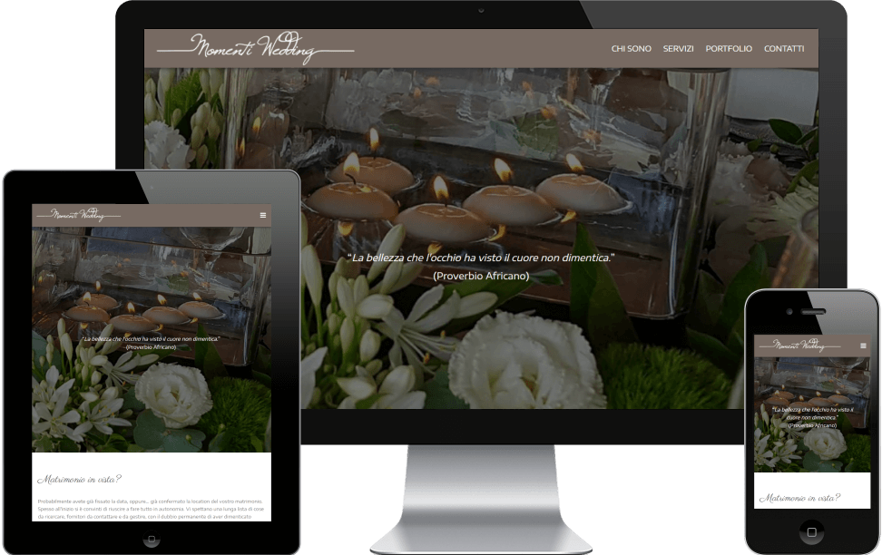 Sito web di Momenti Wedding